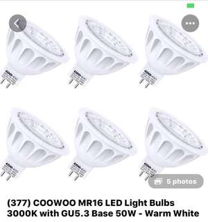 377• COOWOO MR16 LED LIGHTBULBS.