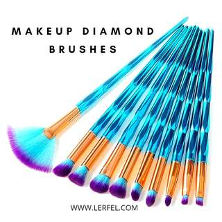 10 Pieces Makeup Diamond Unicorn Brushes Set • Lerfel (Ocean Blue)