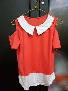 Baju atasan pink putih kerah