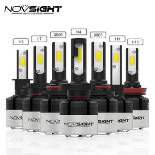 NOVSIGHT - H4 H7 H11 H1 9005 9006 H3 H8 H9 COB LED Headlight 72W 9000LM Car LED Headlights Bulb Fog Light 6500K 12V