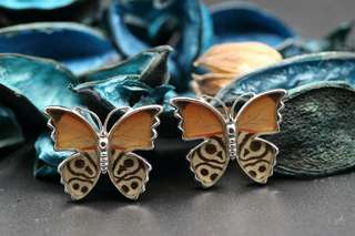 Navia Jewelry Real Butterfly Wing Diaethria clymena Alloy Cufflinks Korea