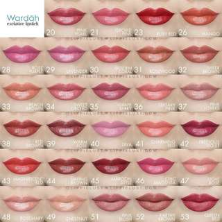 Wardah exclusive lipstick halal cosmetic product make up powder twc foundation face cream matte day bb cream
