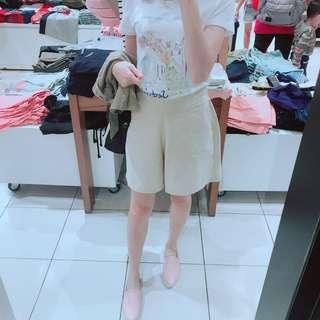 🚚 杏色棉麻短褲