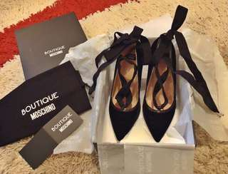 Authentic BNWT Boutique Moschino Black lace up heels/pumps . Price dropped!