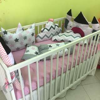 Baby Cot with Full bedding set