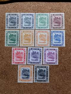 1924 BRUNEI Mint Hinged/LH Set of 13 Stamps