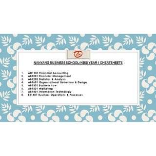 NANYANG BUSINESS SCHOOL (NBS) YEAR 1 Cheatsheets