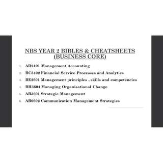 NBS YEAR 2 BIBLES & CHEATSHEETS (BUSINESS CORE)