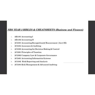 NBS YEAR 2 BIBLES & CHEATSHEETS (Business and Finance)