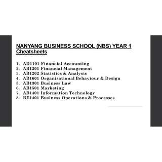 NANYANG BUSINESS SCHOOL (NBS) YEAR 1 Cheatsheets