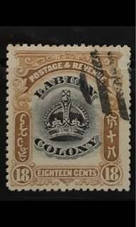 Malaya Labuan early crown stamp 18c used