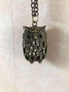 Brass owl, black eyes necklace