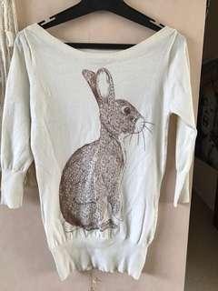 Rabbit print top, small