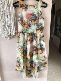 Floral fishtail dress. Size 8