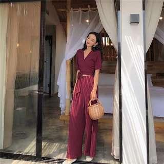 🚚 降價🔥🔥🔥韓國chic風綁帶V領上衣+鬆緊腰顯瘦闊腿褲#女裝半價拉