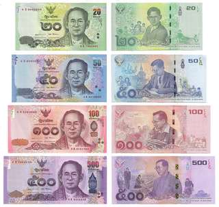 🚚 SET 4 PCS 2017 THAILAND 20, 50, 100, 500 Baht King Bhumibol Commemorative UNC