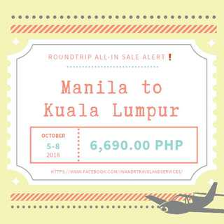MANILA TO KUALA LUMPUR ROUNDTRIP ALL-IN AIR FARE ONLY