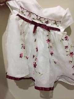 Maroon Cream Dress 0-3mos