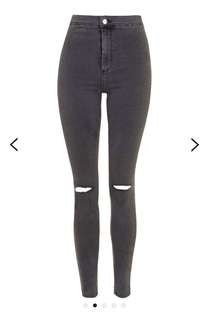 topshop moto joni rip jeans in washed black