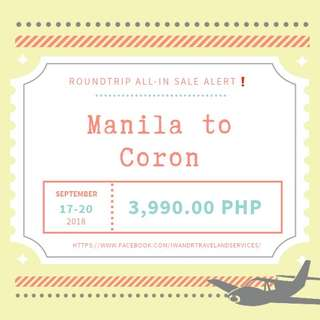 MANILA TO CORON ROUNDTRIP ALL-IN (AIR FARE ONLY)