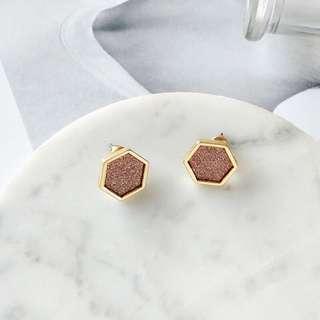 🔹一系列現貨耳環🔸 閃閃幾何啡色耳環 三角形/六角形