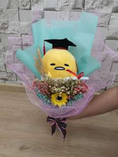 Gudetama Graduation Bouquet with babybreath