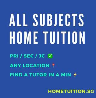 Maths/English/Chinese/Science Primary/Secondary/JC Home Tuition