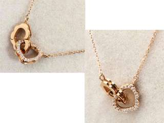 18K Solid gold diamond double  hearts necklace