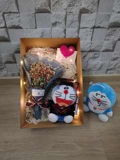 Rainbow baby breath with graduation Doraemon gift set