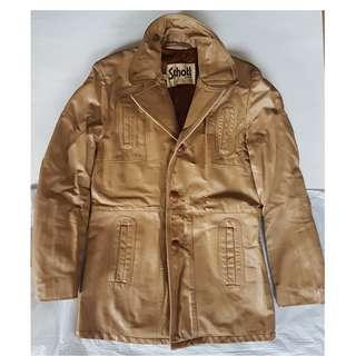 🚚 Vintage Jacket, Retro Leather Coat, Rare Schott Bros Sportswear Designer Leather Jacket, USA, Original, Long Coat, Street Fashion, Hip Hop, Rock Star, Iconic, Fashionable, Stylish, Collectables, Used, Funky Seasoned Condition