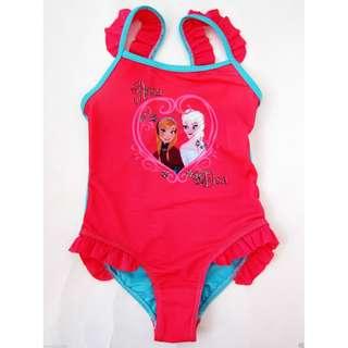 New Frozen Anna Elsa swimsuit Rose Pink 全新女童冰雪奇緣一件頭泳衣