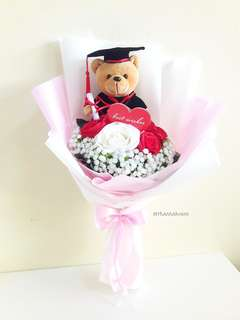 Faux Flower 🌼🌸 Roses and Graduation Bear Bouquet