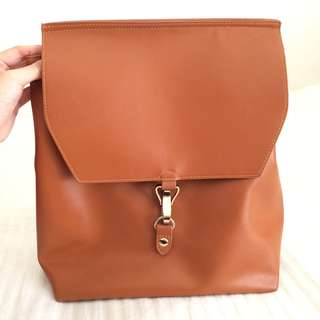 Asos tan leather backpack