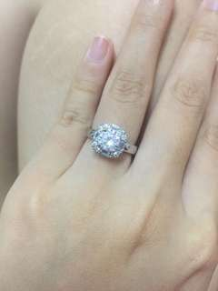 925 silver plated moissanite engagement ring , size 6