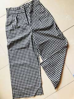 Brand new lotus waist checked long linen pants