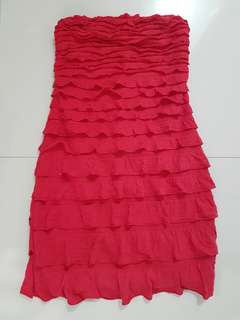 SALE! Dark Pink Tube Ruffled Dress