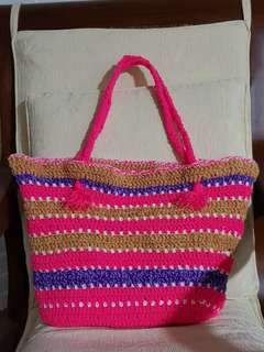 Handmade crochet beach bag