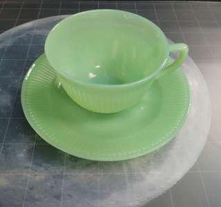 Fire King Anchor Hocking Jadeite Vintage,  JANE RAY tea cup & saucers 1 set, Made in USA