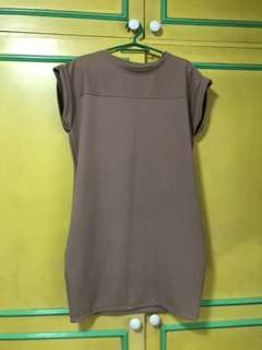 Brown trapeze office dress super nice