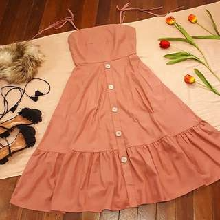 Old Rose Thick Cotton Button Down Dress