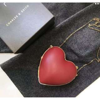 Charles and Keith Heart Shaped Limited Clutch Bag