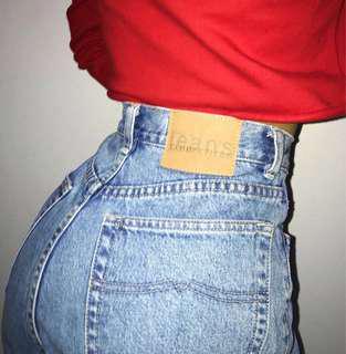 High waisted denim jeans w leather patch sz10
