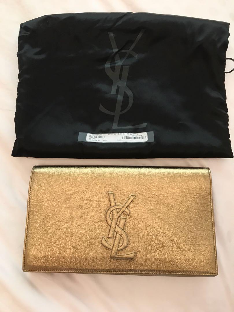 102fdc64f24 100% Authentic YSL / Saint Laurent gold Clutch, Women's Fashion ...