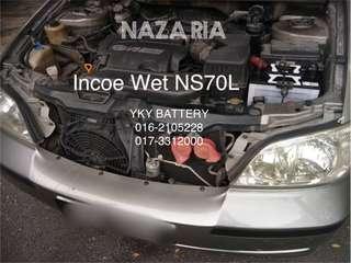 Kereta Bateri , Naza Ria , Incoe Wet NS70L