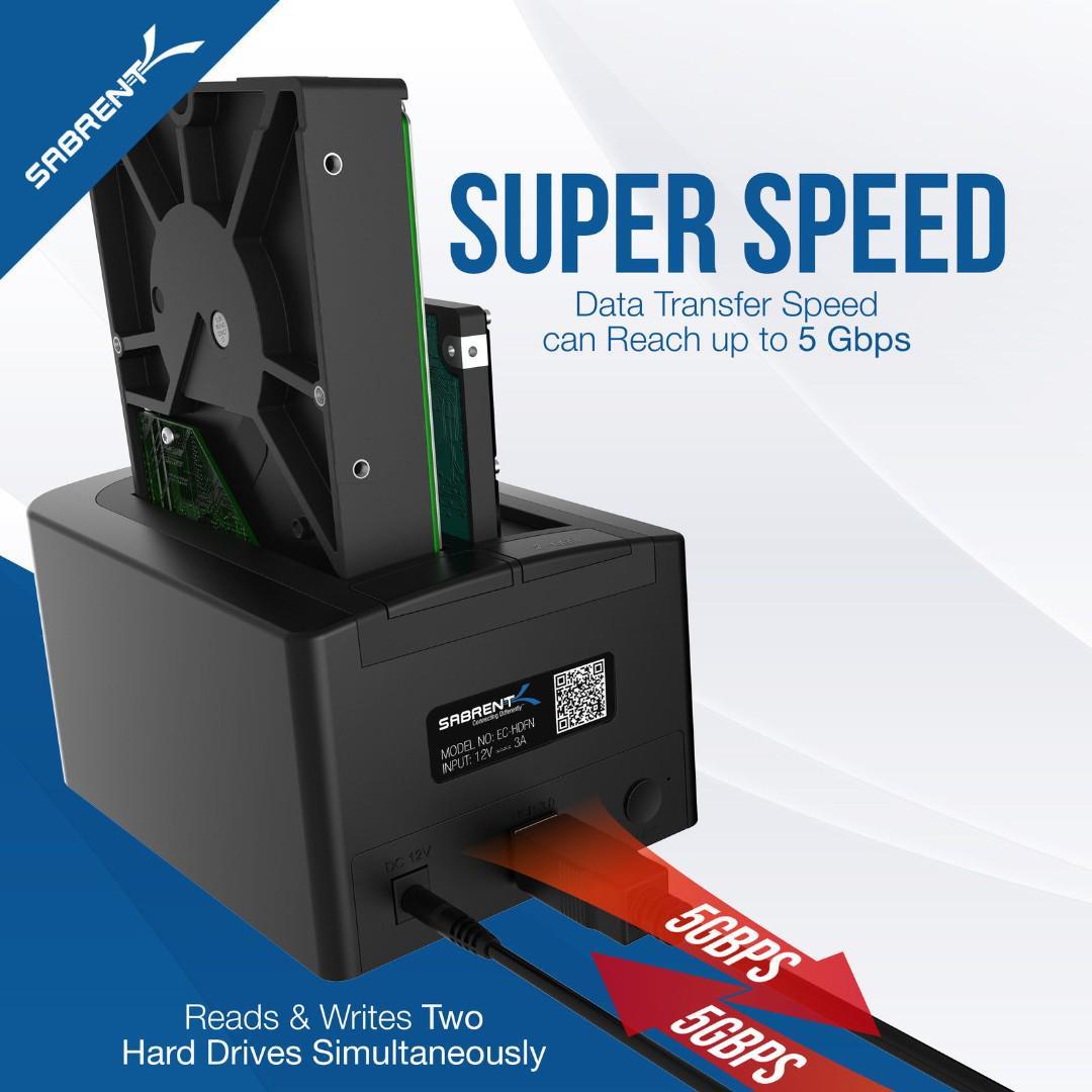 Sabrent USB 3.0 to SATA Dual Bay Hard Drive Docking Station with Fan EC-HDFN