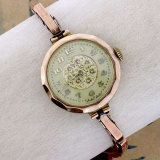 1925 Vintage Lady watch, faceted plate, with chain, analogue, floral design flexible stripe with spring. A08