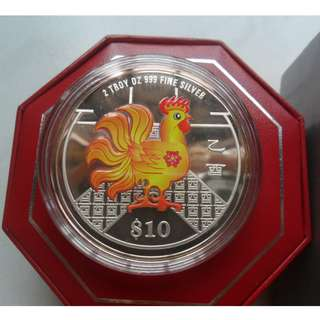 2005 Singapore Lunar Year of Rooster $10 silver piedfort proof coin