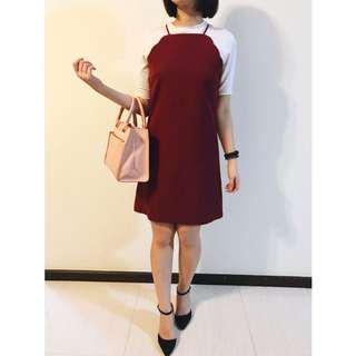 Maroon Cami Shift Dress with Scallop details