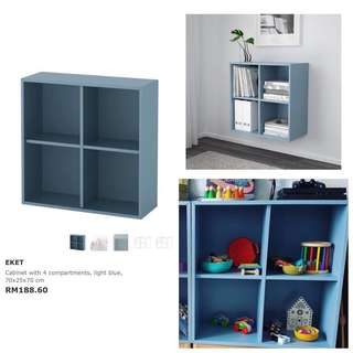 Ikea - (New In Box) Eket With 4 Compartment, Light Blue (70x25x70cm)