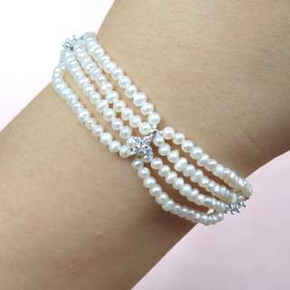 Freshwater pearl bracelet with S925 Silver CZ part and clasp